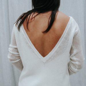 Brautpullover lang mit tiefem Rückenausschnitt
